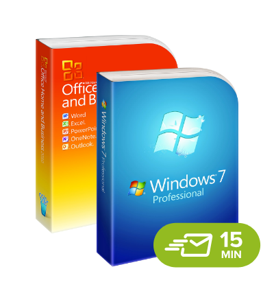 Windows 7 Professional + Office 2010 Home and Business, digital licenses